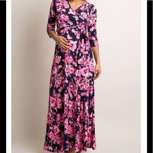 PinkBlush floral print wrap maxi maternity dress